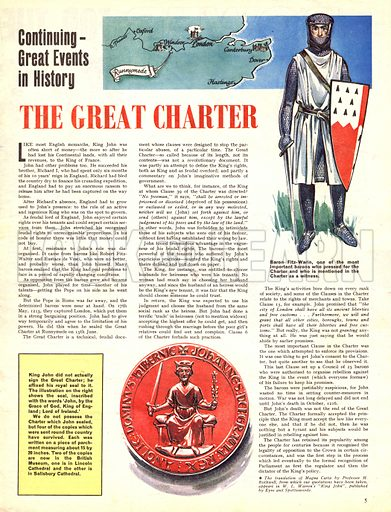 Great Events in History: The Great Charter. The signing of the Magna Carta at Runnymede in 1215.