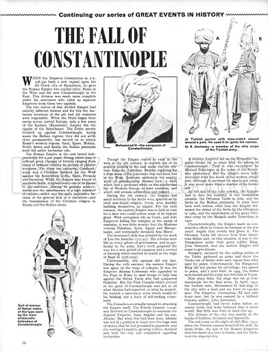 Great Events in History: The Fall of Constantinople.