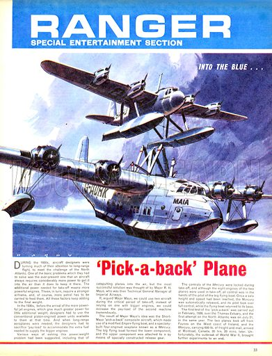 Into the Blue: 'Pick-a-back' Plane.