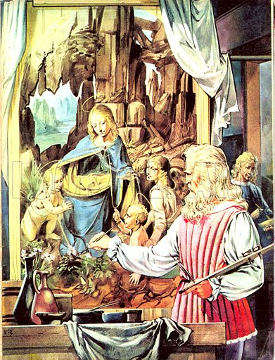 Great Events in History: The Italian Renaissance -- The Masters. Leonardo da Vinci painting his masterpiece 'The Virgin on the Rocks'.