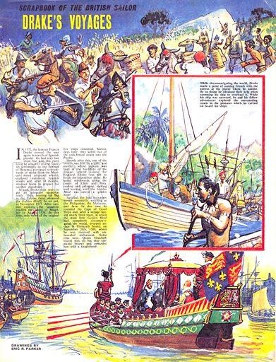 Scrapbook of the British Sailor: Drake's Voyages.
