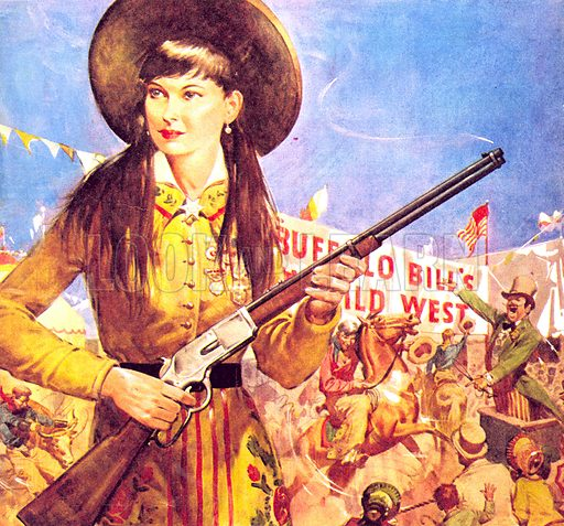 Famous Partnerships: Sharpshooter Annie -- Annie Oakley and her gun.