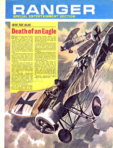 Into the Blue: Death of an Eagle. A dog fight over Lens put an end to the career of Max Immelmann, the Eagle of Lille.