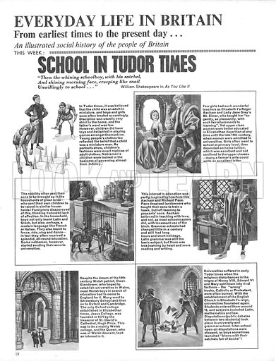 Everyday Life in Britain: School in Tudor Times.