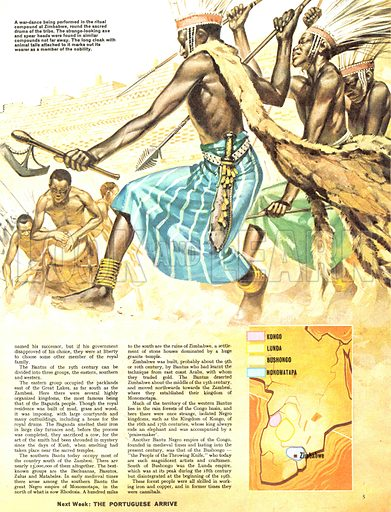 The Story of Africa: The Bantu. A war-dance being performed in the ritual compound at Zimbabwe, round the sacred drums of the tribe. The strange looking axe and spear heads were found in similar compounds not far away. The long cloak with animal tails marks out its wearer as a member of the nobility.