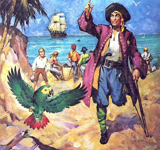Famous Partnerships: Pirate and Partner. Long John Silver and his Parrot.