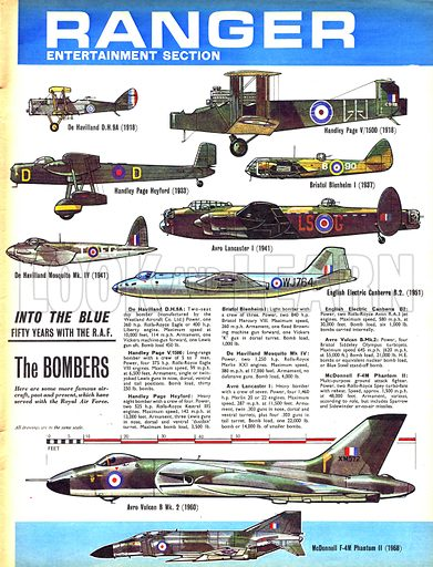 RAF bombers, picture, image, illustration