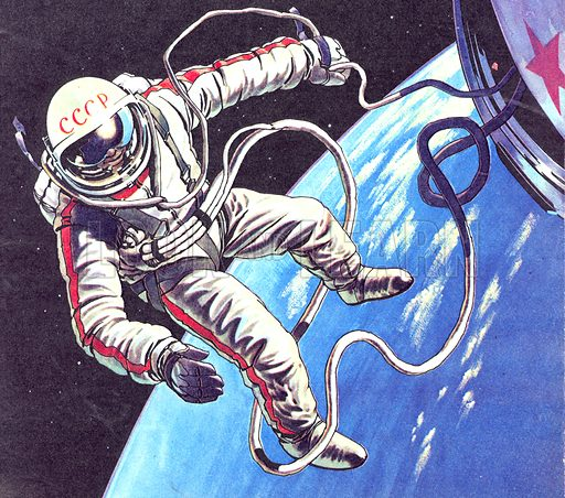 Famous First: Space-Walk! Lieutenant-Colonel Alexie Leonov exited the spacecraft Voskhod 2 on 18 March 1965, becoming the first man to 'walk' in space.