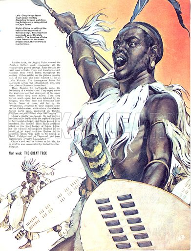 The Story of Africa: The Exploits of Chaka. Chaka in battle at the head of the regiment of Tulwana impi. The regiment was made up of the Zulu nobility. The bunches of blue crame feathers in the head-dresses mark the wearers as married men.