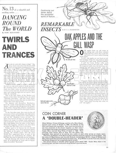 Dancing Round the World: Twirls and Trances. Plus, Remarkable Insects: Oak Apples and the Gall Wasp and Coin Corner.