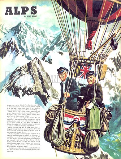 Over the Alps. Gerry Turnbull and Tom Sage fly a balloon at 10,000 feet across the Alps.