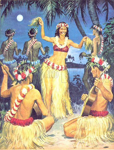 Hawaiian dancers, picture, image, illustration