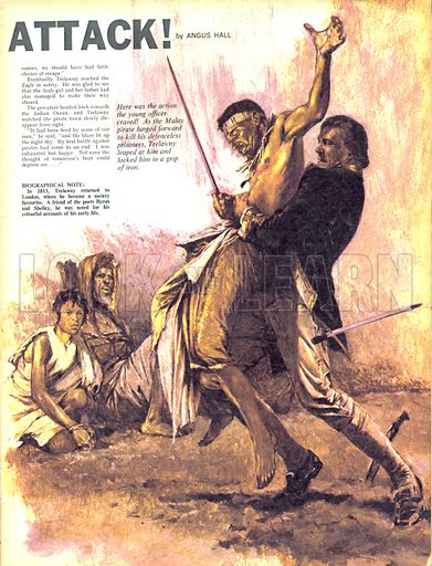 """Surprise Attack! """"Here was the action the young officer craved! As the Malay pirate lunged forward to kill his defenceless prisoners, Trelawny leaped at him and locked him in a grip of iron.""""."""