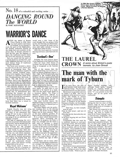 Dancing Round the World: Warrior's Dance; plus, The Laurel Crown: The Man With the Mark of Tyburn.
