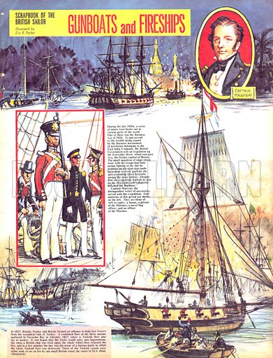 Scrapbook of the British Sailor: Gunboats and Fireships.