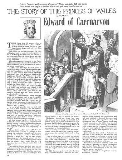 The Story of the Princes of Wales: Edward of Caernarvon.