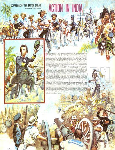 Scrapbook of the British Sailor: Action in India.