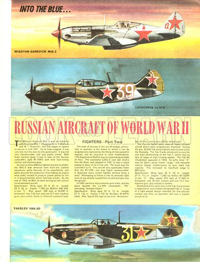 Into the Blue: Russian Aircraft of World War II.