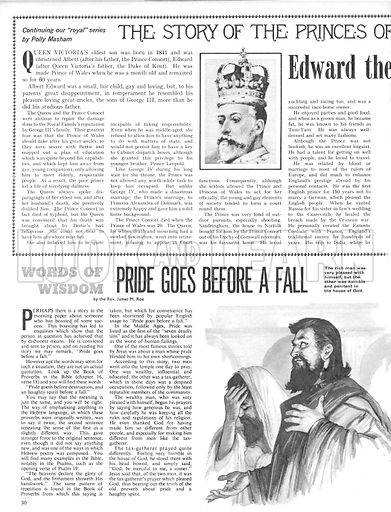 The Story of the Princes of Wales: Edward the Peacemaker; plus, Words of Wisdom: Pride Goes Before a Fall.
