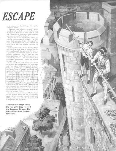 "The Impossible Escape. ""The two men crept along the roof until they reached the Treasury Tower. The water-filled ditch lay far, far below.""."