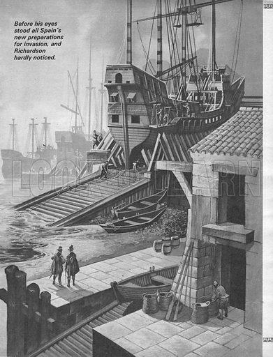 Building the Spanish Armada, picture, image, illustration