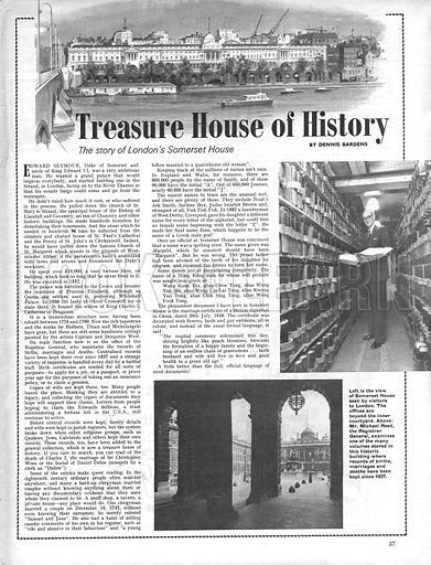 Treasure House of History. The story of London's Somerset House.
