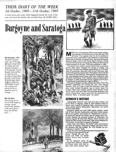 Their Diary of the Week: Burgoyne and Saratoga.