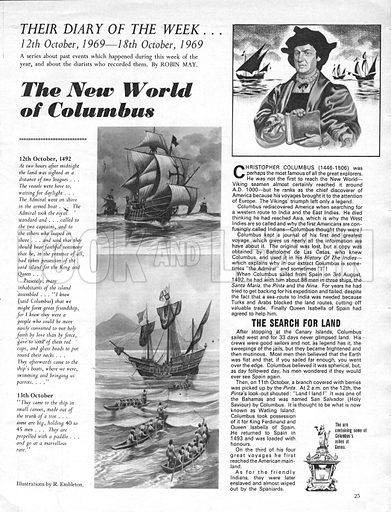 Their Diary of the Week: The New World of Columbus.