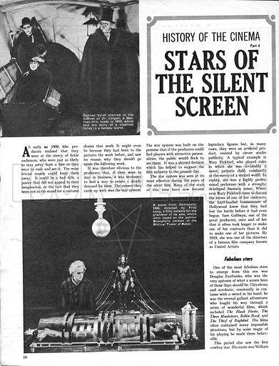 History of the Cinema: Stars of the Silent Screen.