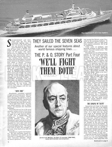 """They Sailed the Seven Seas: The P & O Story -- """"We'll Fight Them Both""""."""