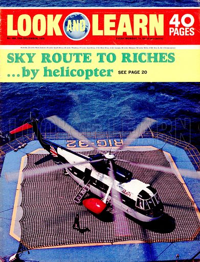 Sky Route to Riches... by Helicopter. Cover from Look and Learn no. 466.