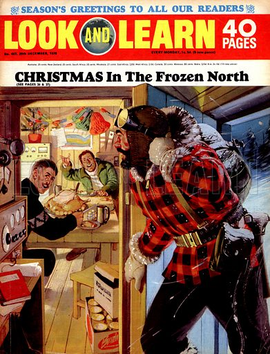 Christmas in the Frozen North. Cover for Look and Learn no. 467.