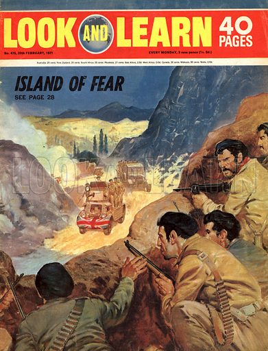 Paths to Power: Island of Fear. Cover for Look and Learn no. 475.