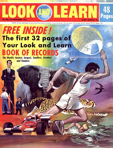 Record Breakers. The tallest and smallest man, the biggest and fastest animal, the fastest runner, swimmer nad driver and the highest parachute  jump.
