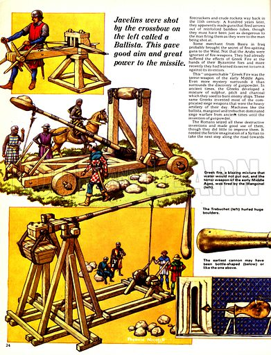 The Story of the Gun: Bombards and Thunder-Buckets. Weapons of war: The ballista fired crossbow shafts; The mangonal was used to hurl a blazing mixture known as Greek fire; The trebuchet fired large boulders; (inset) It is thought that some early cannons were bottle shaped.