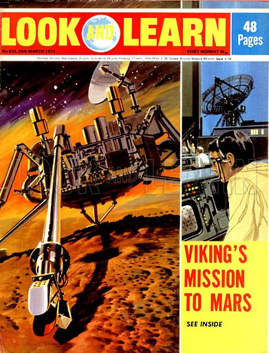 Viking's Mission to Mars. The Mars probe Viking, launched from a Titan booster in 1975 and arrived at Mars in 1976, its progress watched over by ground control at Houston.