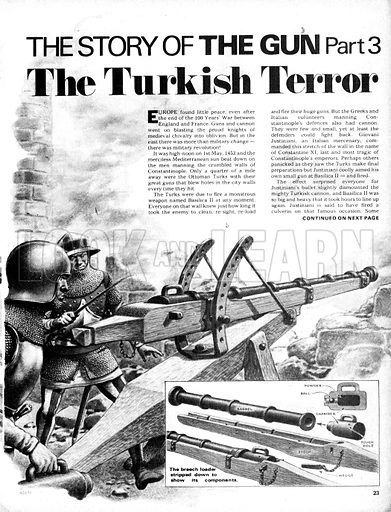 The Story of the Gun: The Turkish Terror. Breach-loading canon with (inset) the same stripped down to its components.