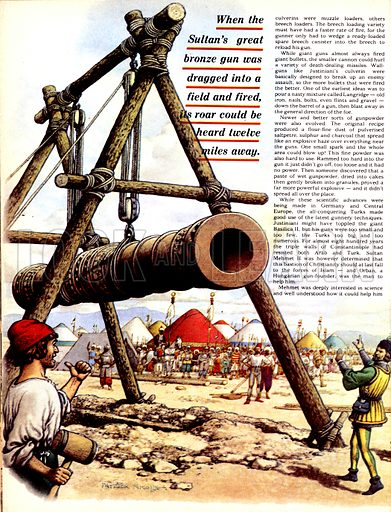 The Story of the Gun: The Turkish Terror. The Sultan Mehmet of Turkey's massive cannon known as Basilica with (inset top right) the Dardenelles gun and (inset centre right) the three walls of Constantinople.