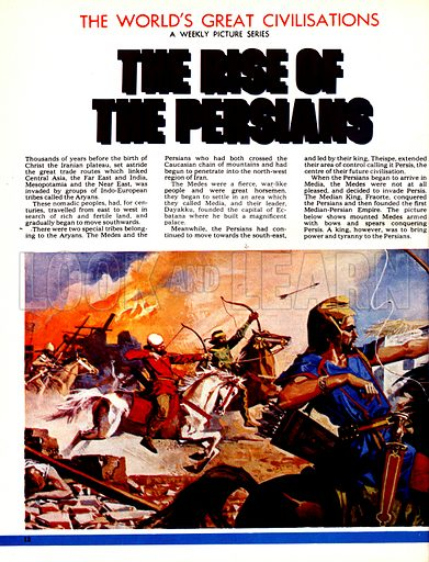 The World's Great Civilisations. The Rise of the Persians. Medes warriors on horseback and armed with bows and arrows counterattack the arrival of the Persian forces.