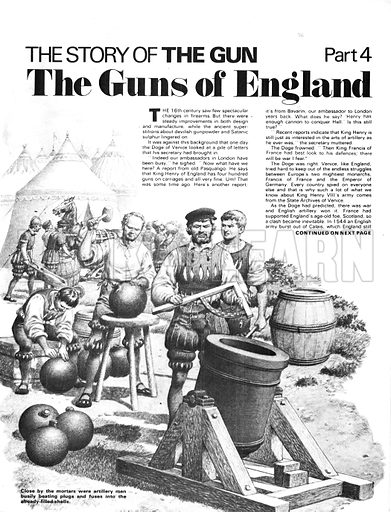 The Story of the Gun: The Guns of England. Mortar gun of the 16th century, with artillery men beating plugs and fuses for shells.