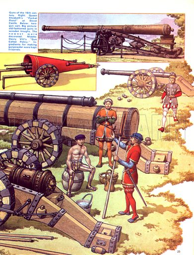 """The Story of the Gun: The Guns of England. Cannons from the era of Henry VIII with (inset right) Queen Elizabeth's """"Pocket Pistol"""" and a two-gun wooden cart."""