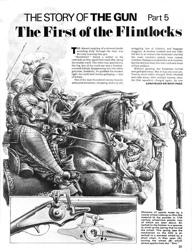 The Story of the Gun: The First of the Flintlocks. Armoured horsemen using the early flintlock pistol in the 17th century with (inset) a look at its mechanism.