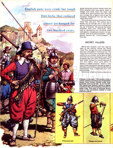 The Story of the Gun: The First of the Flintlocks. Pikemen of the early 17th century alongside a musketeer dressed with all the tools of his trade; (inset along bottom) some of the moves needed to load and fire a musket; (top right) cross-section of a single cartridge along with a bandolier shoulder belt.