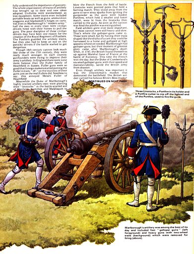 """The Story of the Gun: Blasting Into History. The Duke of Marlborough's artillery was among the best of its day and included ten """"galloper guns"""" (left foreground) and heavy guns with two-wheel trails (background) which were removed for firing (above); (inset top left) A""""John Fuller"""" gun cast in 1786, now in Monaco; (inset top right) Three linstocks, a portfire in its holder and a portfire cutter to nip off the lighted end of the portfire, used to fire the guns."""