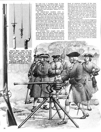 """The Story of the Gun: Blasting Into History. (Right) """"Brown Bess"""", the British army's musket for about 150 years; (Left) A""""Defence"""" machine gun, first demonstrated in 1722 by James Puckle, which could fire 63 rounds in 7 minutes; (inset top) various bayonets."""