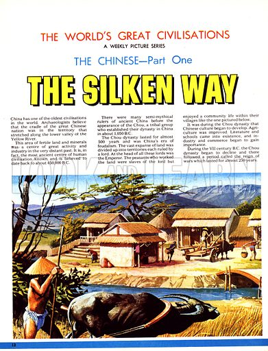 The World's Great Civilisations. The Chinese: The Silken Way. Peasant famers, slaves to the Lords who ruled each of the vast expanses of territory during the feudal era of China, during the Chou dynasty.