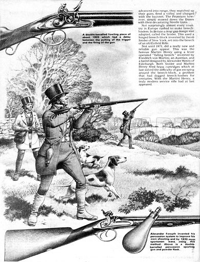 The Story of the Gun: Rifles Go To War. Hunters using a double-barrelled fowling gun in the early 19th century including (inset top) a look inside the trigger mechanism and (inset bottom) the improved version invented by Alexander Forsyth.