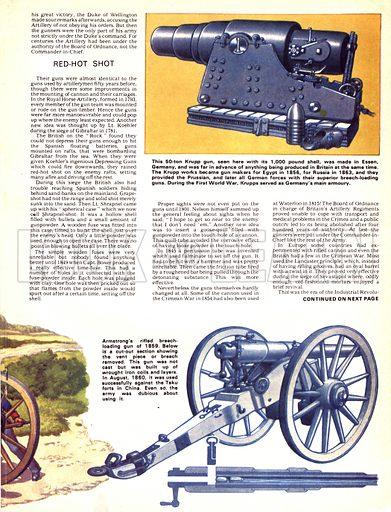 The Story of the Gun: The Battling Antiques. (Top left) Depressing Carriage created by Lieutenant Koehler which could fire downwards; (Centre left) Ammunition and accessories; (Bottom left) Off to battle with the Royal Artillery in 1830; (Top right) 50-ton Krupp gun; (Bottom right) Armstrong's rifled breech-loading gun of 1859 with (below) a cut-out section showing the removed vent piece.