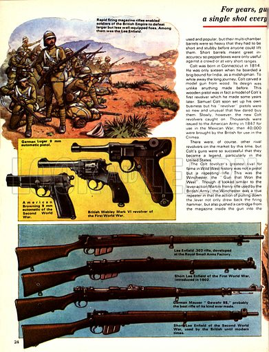 The Story of the Gun: How the West was Won. (Top left) The Lee Enfield rifle helped forge the British Empire; (Centre left, LtoR) American Browning automatic, British Webley Mark VI, German Luger; (Bottom left, TtoB) Lee Enfield 303, Shore Lee Enfield (WW1), German Mauser Gewehr 98, Shore Lee Enfield (WW2).