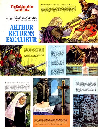 The Knights of the Round Table: Arthur Returns Excalibur.